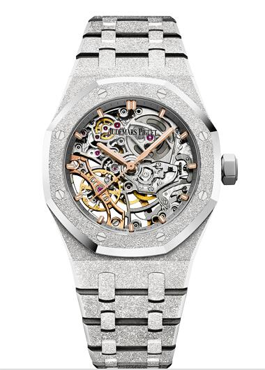 Audemars Piguet Royal Oak 37 Double Balance Wheel Openworked Frosted White Gold 15466BC.GG.1259BC.01 Replica Watch