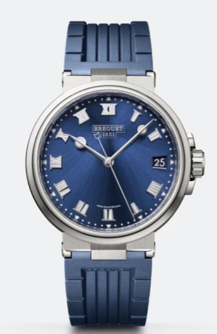 Breguet Marine 5517 Titanium Blue Rubber 5517TI/Y1/5ZU Replica Watch