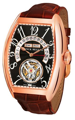 FRANCK MULLER Cintree Curvex Master Calendar Tourbillon 7880 T MC RG Black Replica Watch