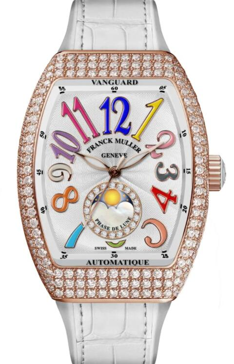 FRANCK MULLER VANGUARD LADY MOONPHASE V 32 SC AT FO L COL DRM D CD 1P BC Replica Watch