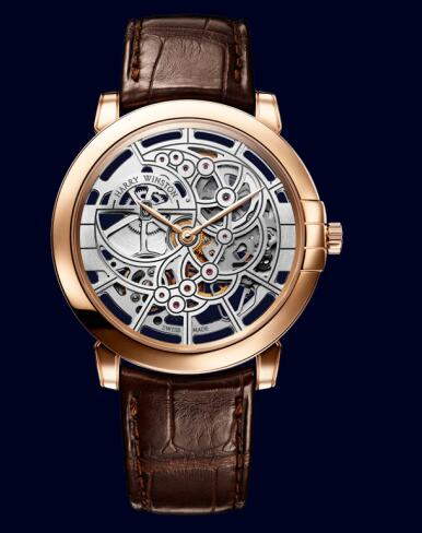 Harry Winston Midnight Skeleton MIDAHM42RR001 Replica Watch
