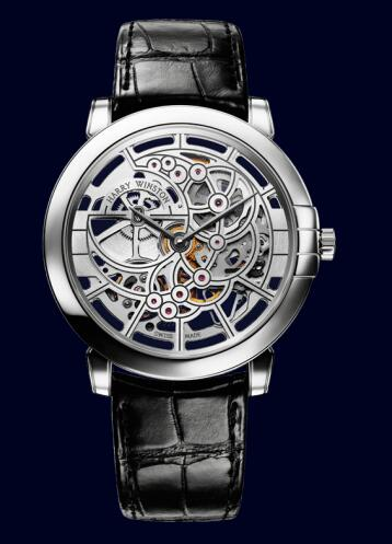 Harry Winston Midnight Skeleton MIDAHM42WW001 Replica Watch