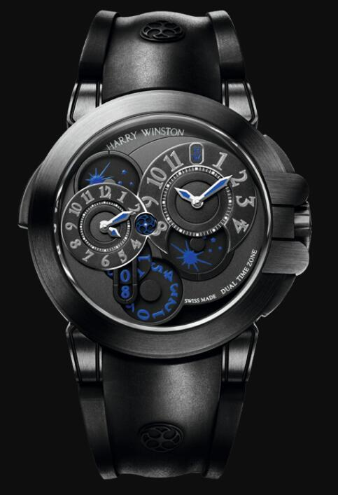 Best Harry Winston Ocean Dual Time Black Edition OCEATZ44ZZ007 Replica Watch