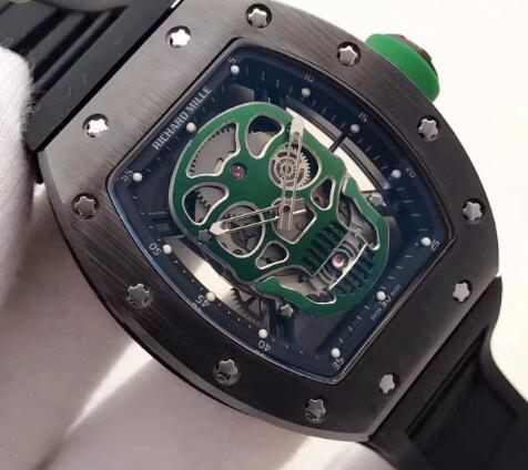 Richard Mille RM 52 Black ceramic Green Skull Replica Watch