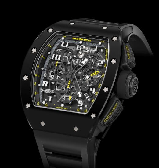 Richard Mille Replica Watch RM 011 Black Ceramic Yellow Flash 511.46BK.91-1