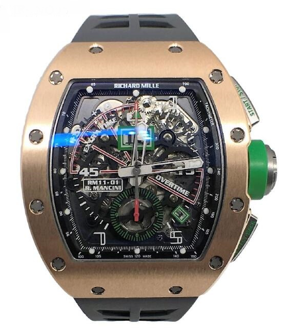 Richard Mille Replica Watch RM 011 Roberto Mancini Gold Flyback Chronograph