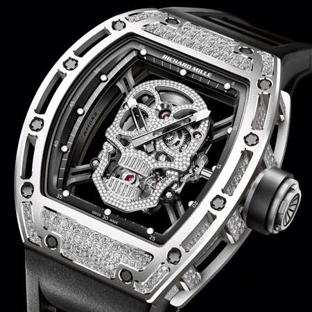 Richard Mille Replica Watch RM 052 Skull Titanium Diamonds