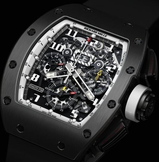 Richard Mille Replica Watch RM011 America White DLC Black
