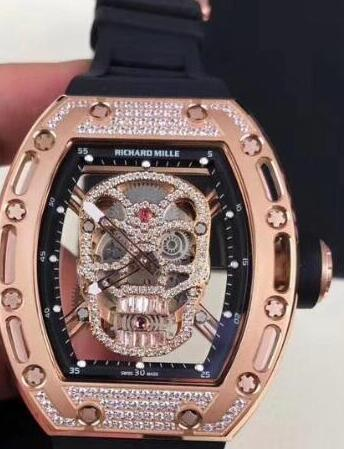 Richard Mille RM 052 rose gold diamond skull Replica Watch
