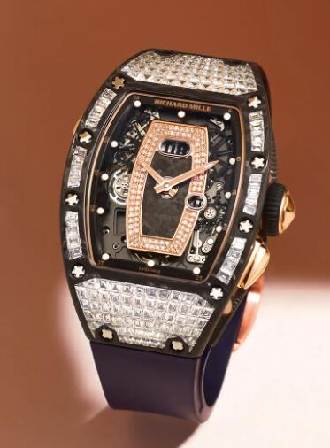 Best Richard Mille RM037 Ladies Gold Carbon TPT diamond Replica Watch