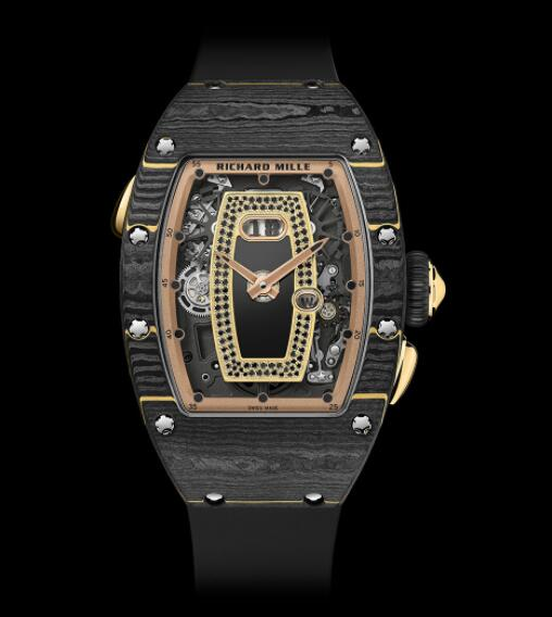 Best Richard Mille RM037 Ladies Gold Carbon TPT Replica Watch