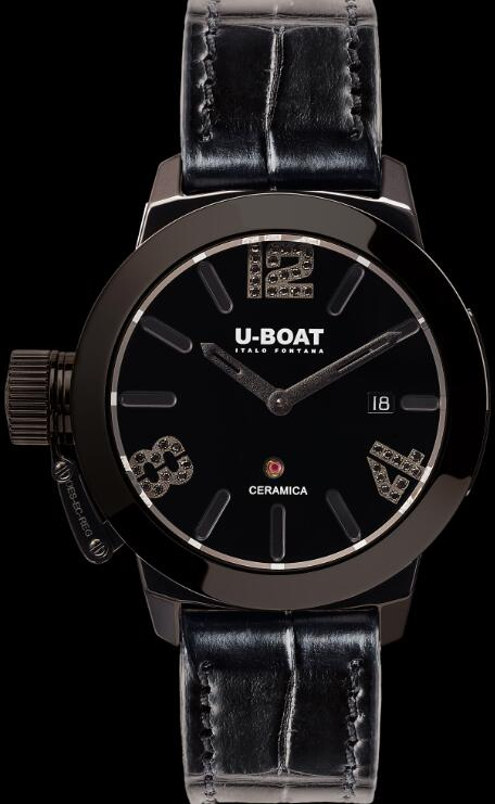 U-BOAT CLASSICO 42 CERAMIC BLACK DIAMONDS 7124 Replica Watch